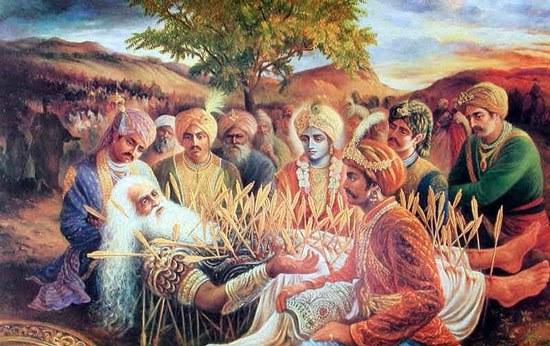 Bhishma teaching governance sharshhayya pandavas