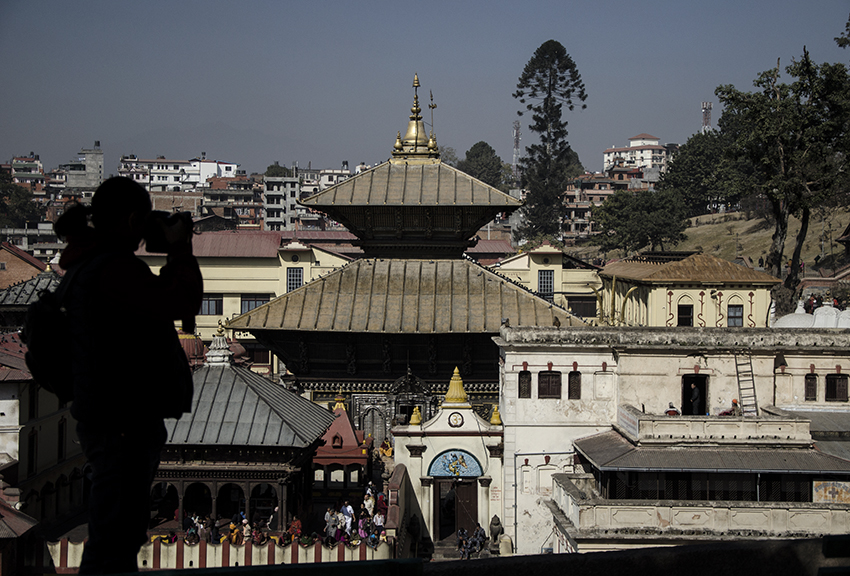 Pashupatinath Temple at the background.