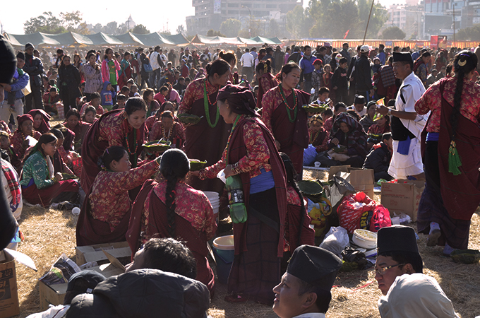 Tamu Women feasting on Losar